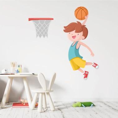 Niño jugando a baloncesto - Vinilos decorativos infantiles
