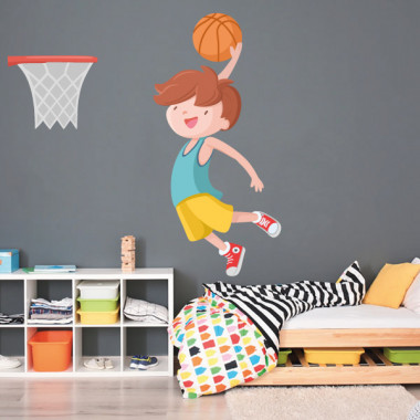 Garçon jouant au basket - Stickers muraux pour enfants