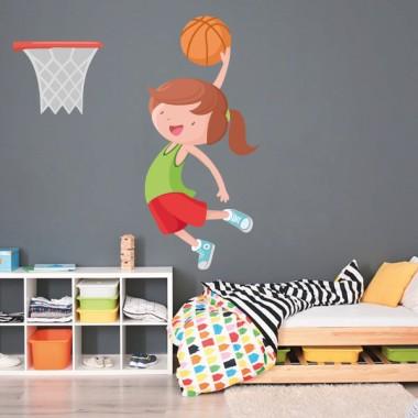 Fille jouant au basket - Stickers muraux pour enfants