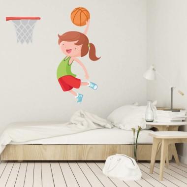 Fille jouant au basket - Stickers muraux enfants