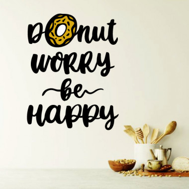 Donut worry. Be happy - Stickers muraux jeunesse