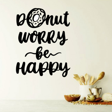 Donut worry. Be happy - Vinils decoratius cuina