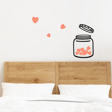 El bote del amor - Vinilos decorativos para paredes Vinilos casa ¡Que no falte el amor! Vinilos decorativos para gente enamorada de la vida. Bote, en blanco o negro, y corazones de distintos colores a elegir. Un pequeño gran detalle para decorar cualquier espacio de tu hogar y darle un toque lleno de ternura. Medidas aproximadas del vinilo montado (ancho x alto) Básico:90x60 cm Pequeño:115x77 cm Mediano:135x90cm Grande: 170x115cm Gigante: 250x170cm  vinilos infantiles y bebé Starstick