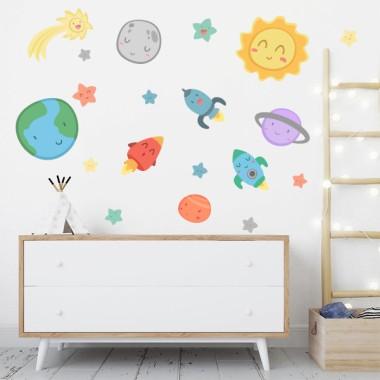 Espace enfants - Système solaire - Stickers muraux pour bébé