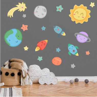 Espace enfants - Système solaire - Stickers bébé
