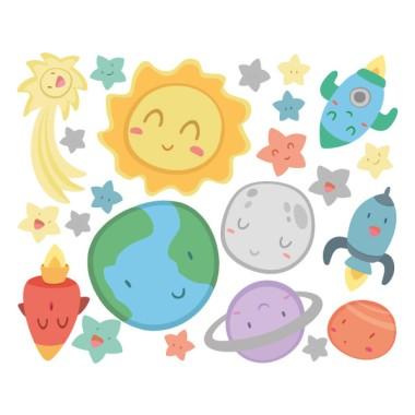 Espacio infantil - Sistema solar - Vinilos para bebé Vinilos infantiles Bebé Decora la habitación de tu bebé con un vinilo de pared con figuras del sistema solar. Planetas, cometas, estrellas, cohetes… Vinilos decorativos para convertir las paredes en alegres murales. Cada una de las figuras es independiente, podrás colocarlas en la pared a tu gusto, no tienes porqué preocuparte por los mueblas que tengas instalados. Además, puedes personalizarlo con los nombres que quieras. ¿Empezamos?Medidas aproximadas del vinilo infantil montado (ancho x alto) Básico: 70x45 cm Pequeño:100x70 cm Mediano:140x80 cm Grande:200x120 cm Gigante:225x155 cm  AÑADE UN NOMBRE AL VINILO DESDE 9,99€ vinilos infantiles y bebé Starstick
