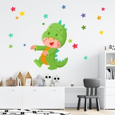 Niño jugando a ser dinosaurio - Vinilos para bebé