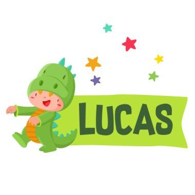 Niño jugando a ser dinosaurio - Vinilos infantiles con nombre
