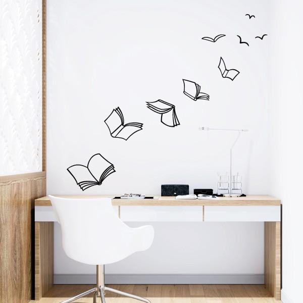Leer da alas - Vinilos adhesivos de pared Vinilos casa Vinilos decorativos que permiten transformar simples paredes en murales llenos de simbolismo. Vinilos adhesivos de la marca StarStick, únicos, originales y fáciles de instalar. No lo dudes y decora tus paredes con magníficos vinilos diseñados exclusivamente para StarStick. Cada libro es independiente, los puedes pegar con la composición que desees e imprimir con el color que más te guste.    Medidas aproximadas del vinilo montado (ancho x alto) Básico:90x80 cm Pequeño:135x115 cm Mediano:170x150 cm Grande:240x217cm Gigante: 320x280cm  vinilos infantiles y bebé Starstick