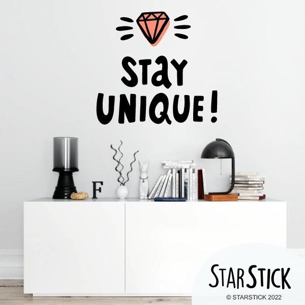 Stay Unique - Vinilos adhesivos de pared Vinilos Juveniles Vinilos decorativos que permiten transformar simples paredes en murales llenos de simbolismo. Vinilos adhesivos de la marca StarStick, únicos, originales y fáciles de instalar. No lo dudes y decora tus paredes con magníficos vinilos diseñados exclusivamente para StarStick. Medidas aproximadas del vinilo montado (ancho x alto) Básico:45x42 cm Pequeño:68x64 cm Mediano:84x79 cm Grande:118x111cm Gigante: 157x147cm   vinilos infantiles y bebé Starstick