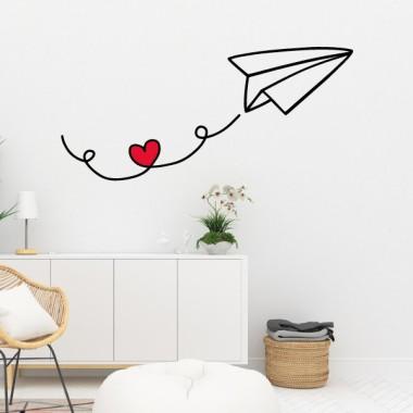 Avion en papier avec coeur - Stickers muraux