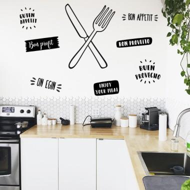 Couteau et fourchette - Stickers muraux