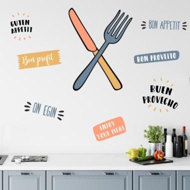 Couteau et fourchette (couleurs) - Stickers muraux
