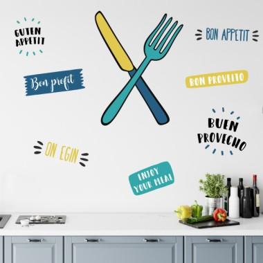 Cuchillo y tenedor (Colores) - Vinilos decorativos de pared