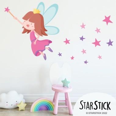 Vinilo niñas - Hada con estrellas