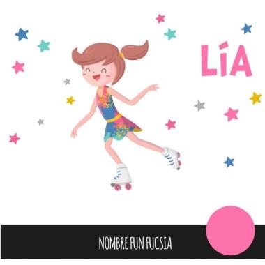 Nena patinadora amb mallot de colors - Vinils decoratius infantils