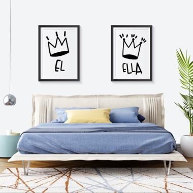 Lot de 2 affiche décoration du maison - Lui et Elle