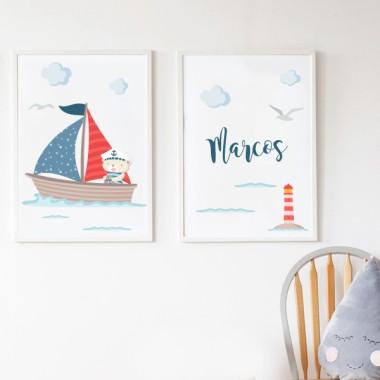 Lot de 2 toiles déco - ours dans un bateau