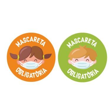 Enfants - Masque obligatoire - Stickers de signalisation adhésifs