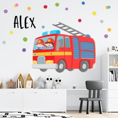 Camion de pompier - Stickers muraux