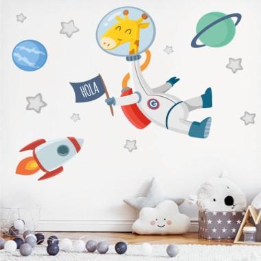 Jirafa astronauta - Vinilos infantiles para decorar