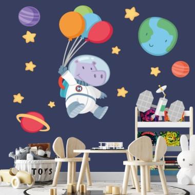 Vinilo para bebé Hipopótamo astronauta con globos - Vinilos infantiles bebé