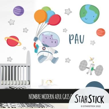 Hipopótamo astronauta con globos - Vinilos infantiles para decorar