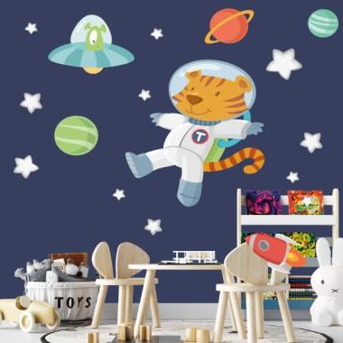 Astronaut tiger and alien - Stickers décoratifs pour enfants