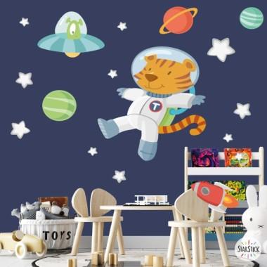 Vinilo para bebé Tigre astronauta y alien - Vinilos infantiles
