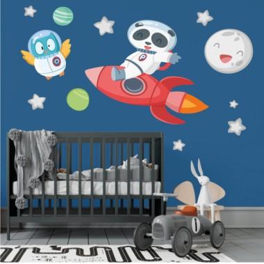 Ours panda avec fusée - Stickers décoratifs pour enfants