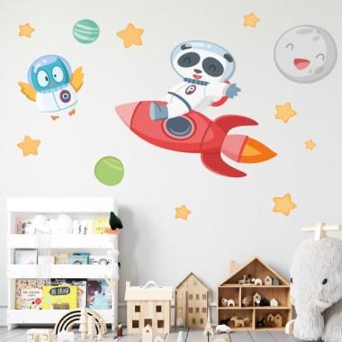 Oso panda con cohete - Vinilos infantiles para decorar