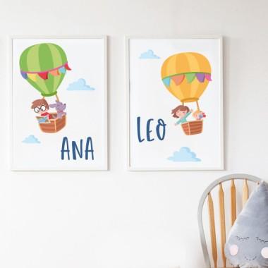 Pack de 2 làmines decoratives - Aventura en globus