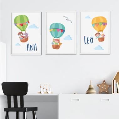 Lot de 3 affiche  pour enfants - Aventure ballon