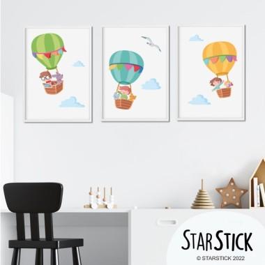 Pack de 3 láminas infantiles - Aventura en globo