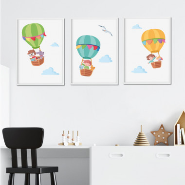 Pack de 3 làmines infantils - Aventura en globus