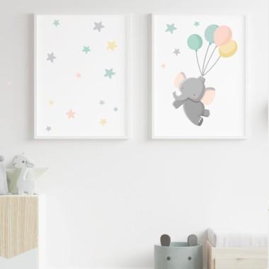 Lot de 2 toiles déco - Le petit éléphant avec des ballons