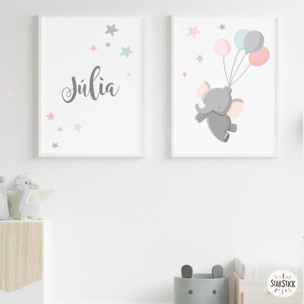 Pack de 2 láminas decorativas - Elefante con globos Rosa Láminas y cuadros infantiles Láminas de diseño con un elefante volando con globos y estrellitas de colores. Láminas exclusivas de la marca StarStick para decorar las paredes de las habitaciones infantiles y los cuartos del bebé. Combínalas con un vinilo de estrellitas de colores y una guirnalda de luz y conseguirás una decoración maravillosa. Medidas (ancho x alto) A4 - 210 x 297 mm A3 - 297 x 420 mm A2 - 420 x 594 mm  Material: Impresión sobre canvas Marco: Opcional vinilos infantiles y bebé Starstick