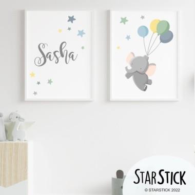 Lot de 2 toiles déco - Le petit éléphant avec des ballons Bleu