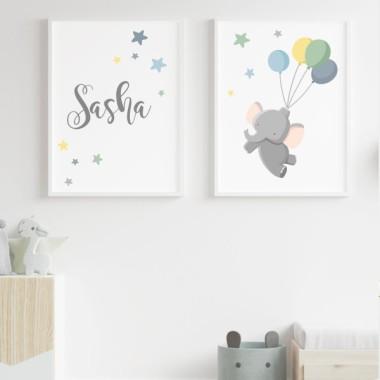Pack de 2 làmines decoratives - Elefant amb globus Blau