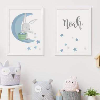 Pack de 2 láminas decorativas - Conejito en la luna repartiendo estrellas