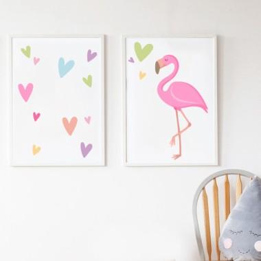 Pack de 2 láminas decorativas - Flamenco rosa con corazones
