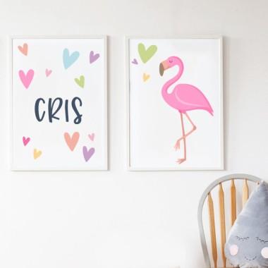 Lot de 2 toiles déco - Flamant rose avec coeurs