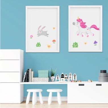 Pack de 2 láminas decorativas - El paseo del unicornio