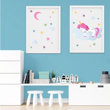 Pack de 2 láminas decorativas - Unicornio durmiendo en las nubes