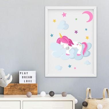 Làmina decorativa infantil - Unicorn dormint als núvols