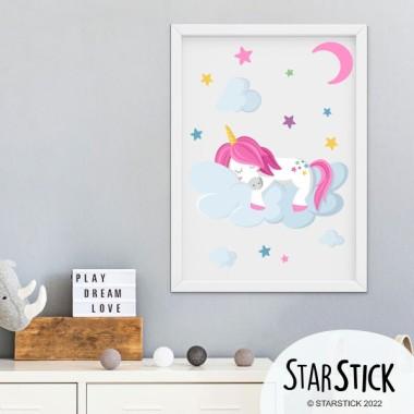 Lámina decorativa infantil - Unicornio durmiendo en las nubes