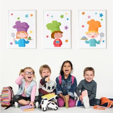 Lot de 3 affiche  pour enfants - Les trois cuisiniers