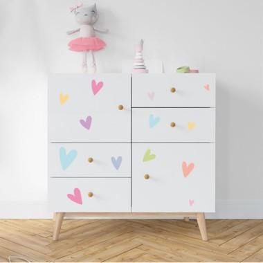 Coeurs colorés - Stickers lavables