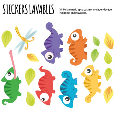Caméléons - Stickers lavables
