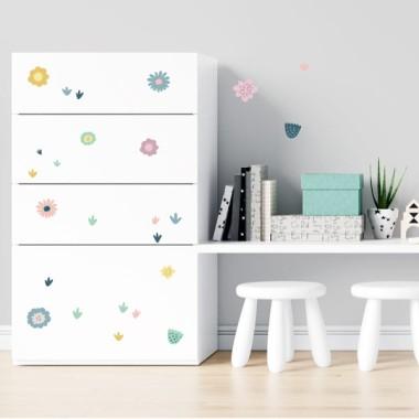 Fleurs bleues - Stickers lavables